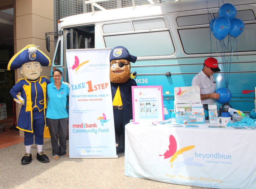 The Central Coast Mariners Mascots helped staff the bus at Erina Fair!