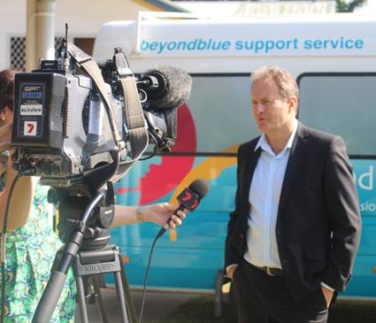 Beyond Blue Ambassador Craig Hamilton being interviewed in Rockhampton.