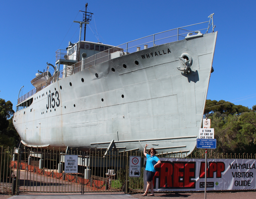 Admiring the HMAS Whyalla - the first modern warship built in South Australia.