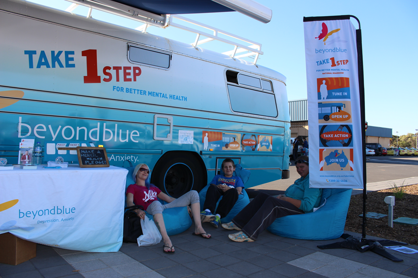 Relaxing for good mental health at Westland Shopping Centre in Whyalla.