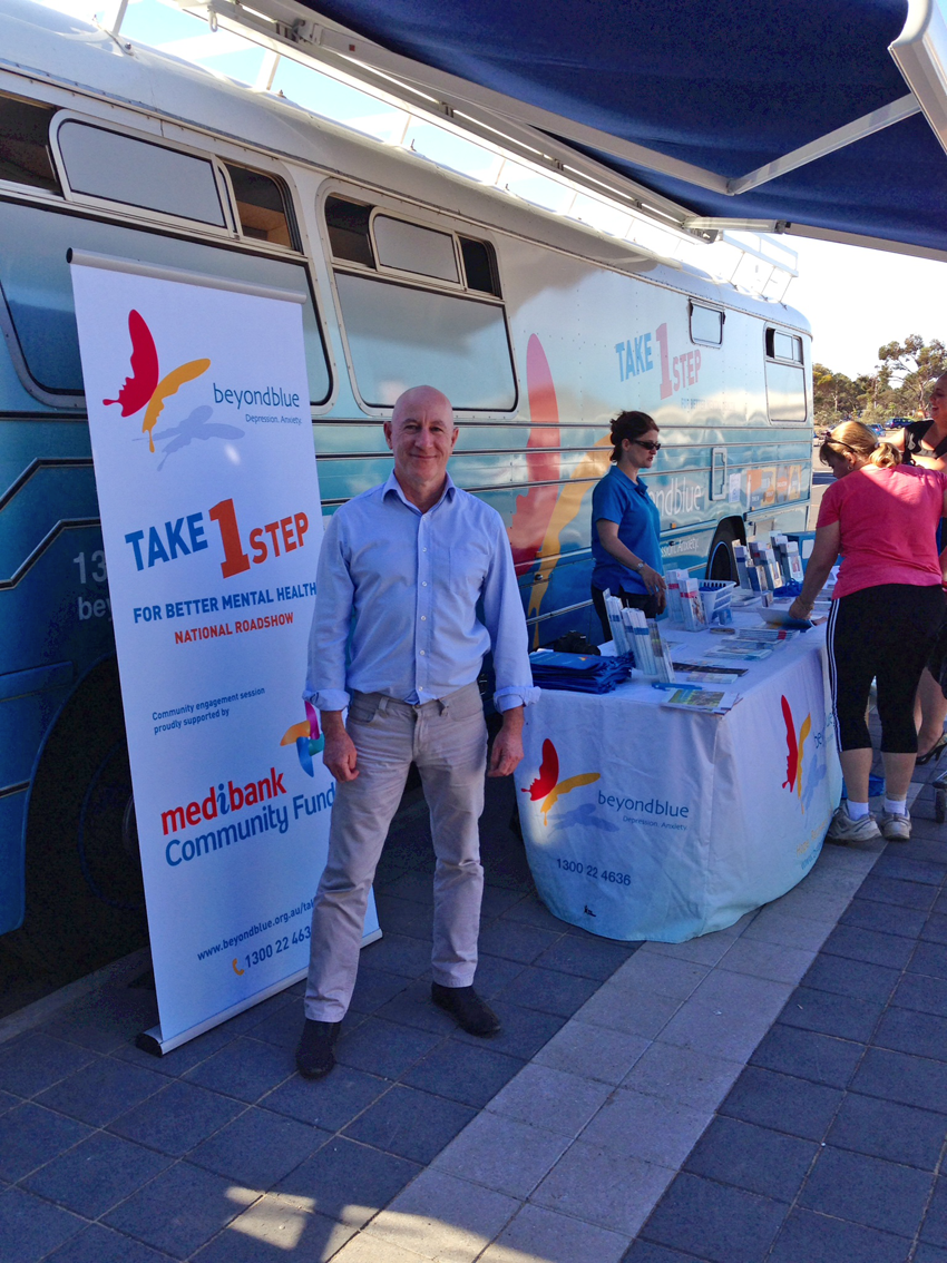 Eddie Hughes, State Member for Giles, dropped by the bus in Whyalla.