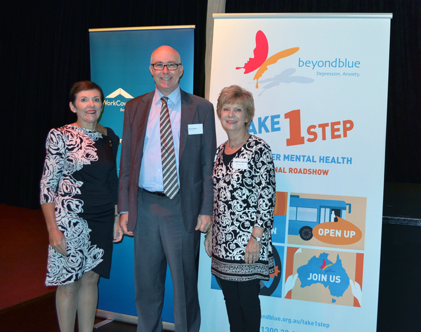 Beyond Blue CEO Kate Carnell AO with WorkCoverSA General Manager of Insurance Rob Cordiner and  Mount Gambier Chamber of Commerce President  Lynette Martin.