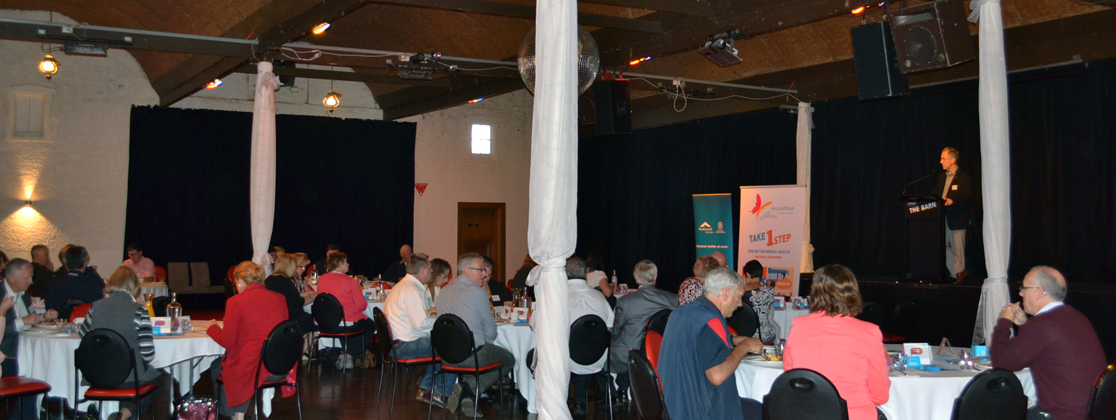 Attendees hearing about mental health in the workplace at the breakfast in Mount Gambier.