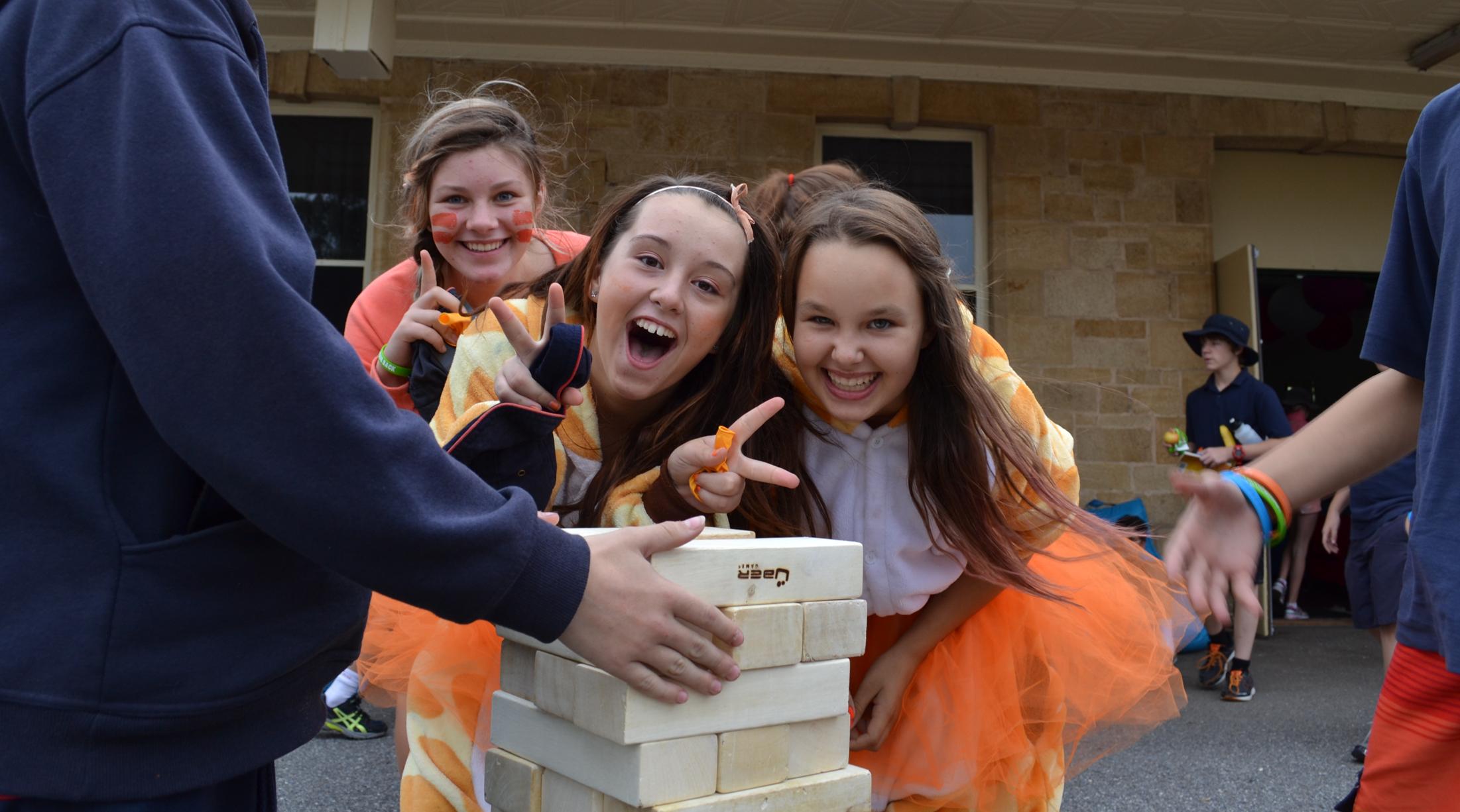 Students get into Giant Jenga at Murray Bridge.