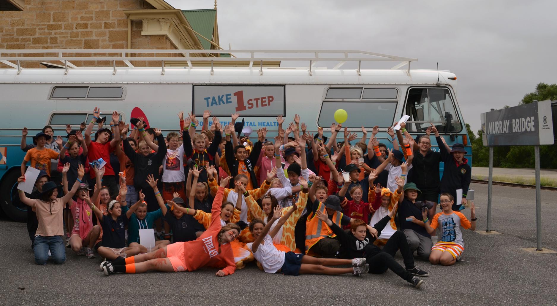 A school group in Murray Bridge visit the bus.