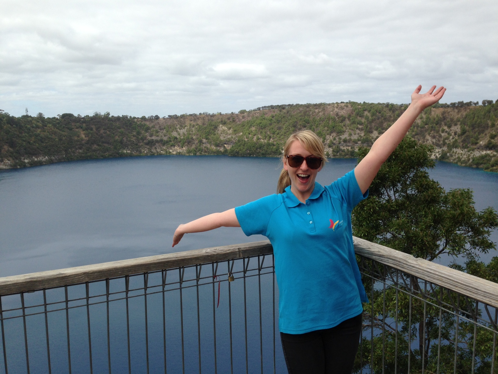 Roadster Katie at the Blue Lake in Mount Gambier.