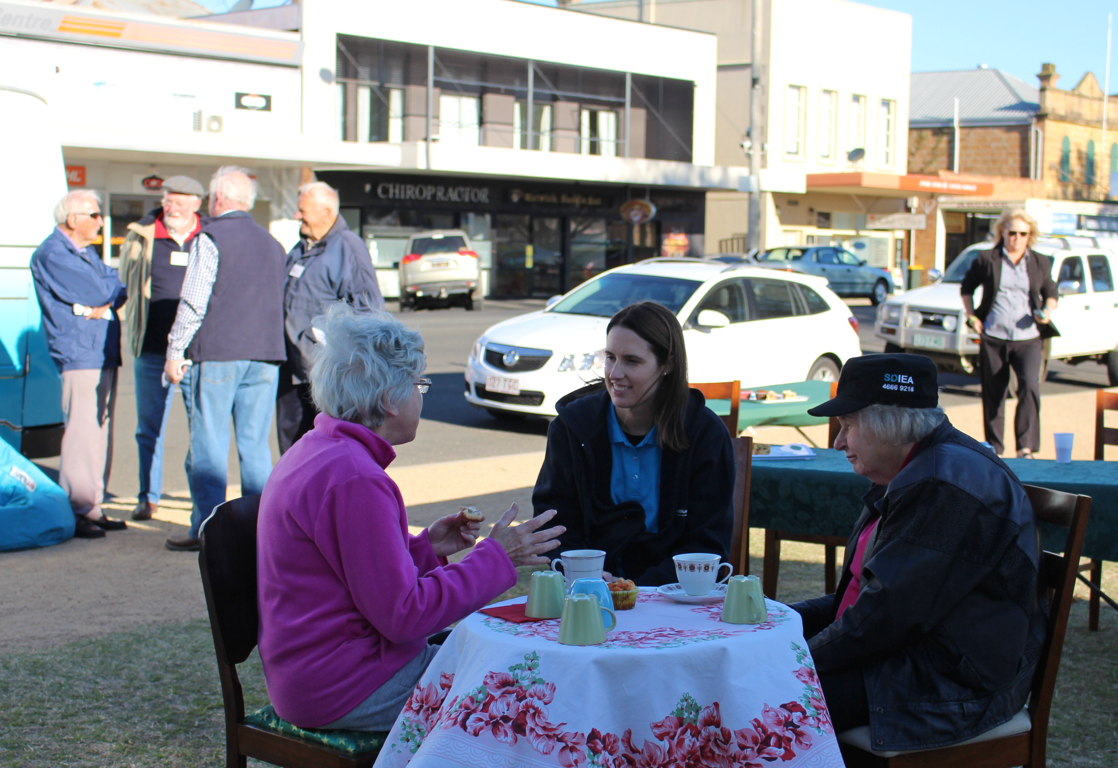 Chatting to locals in Warwick.