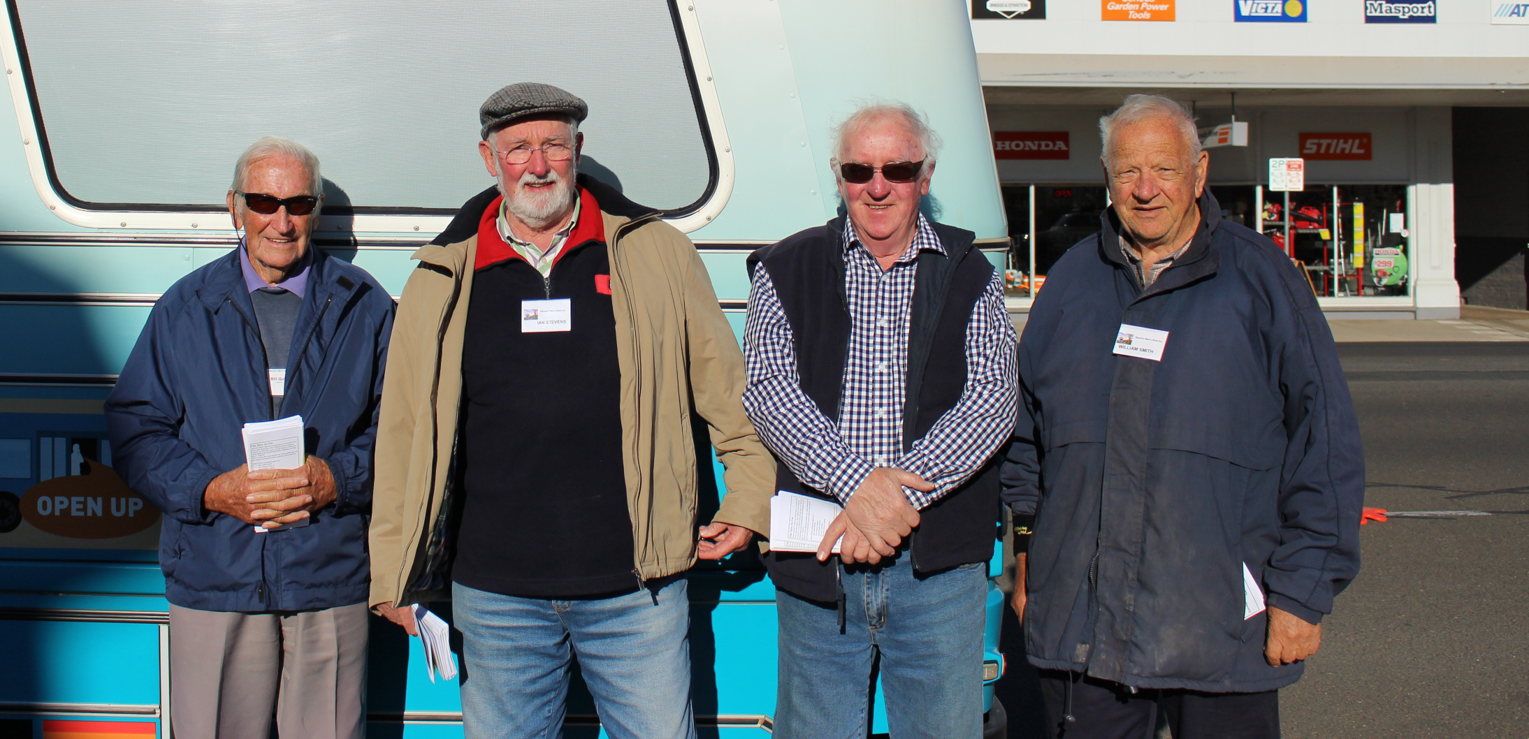 Members of the Warwick Men's Shed came down to greet the bus.