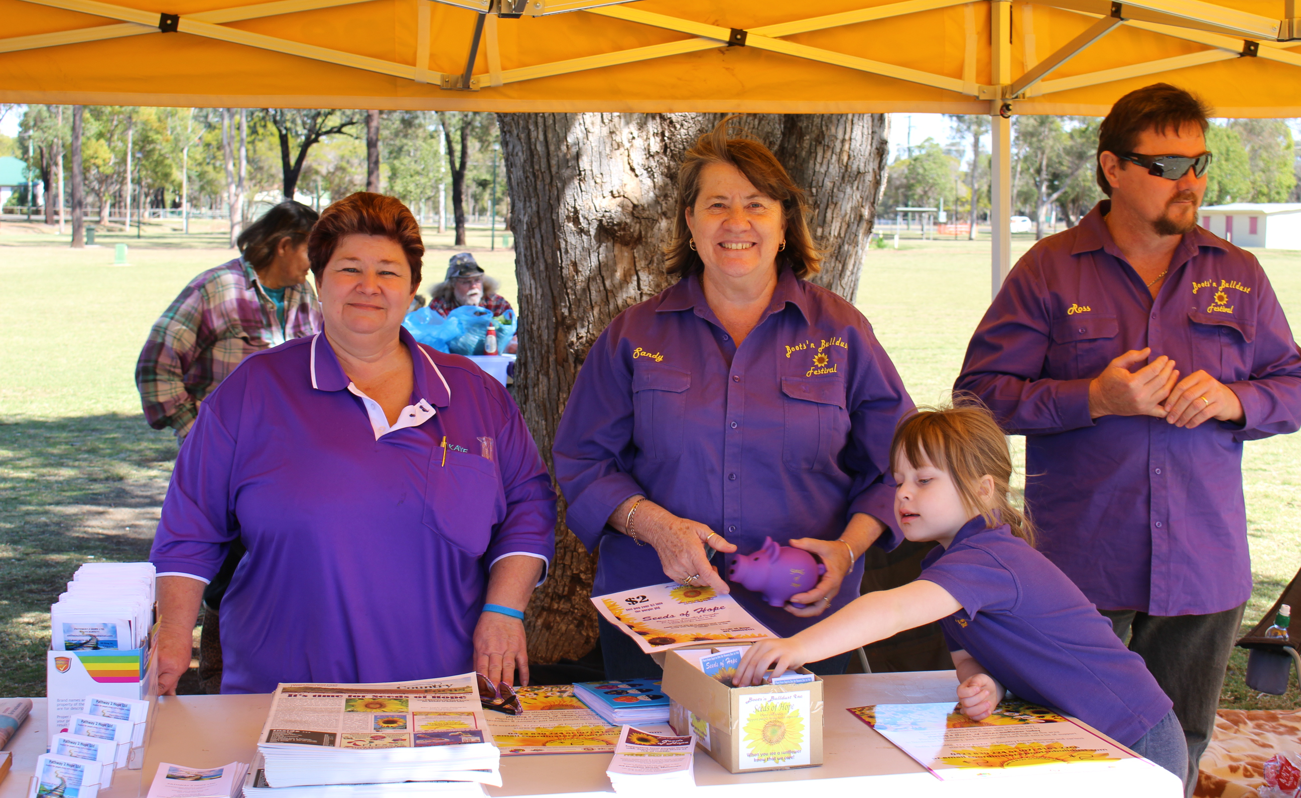 Pathway2Hope's Kaye Hibbs and Sandy Towell of Seeds of Hope at the Kingaroy community barbecue.