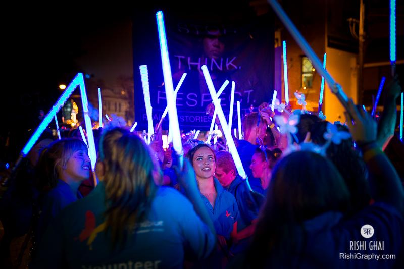 Lighting up the night at Mardi Gras.