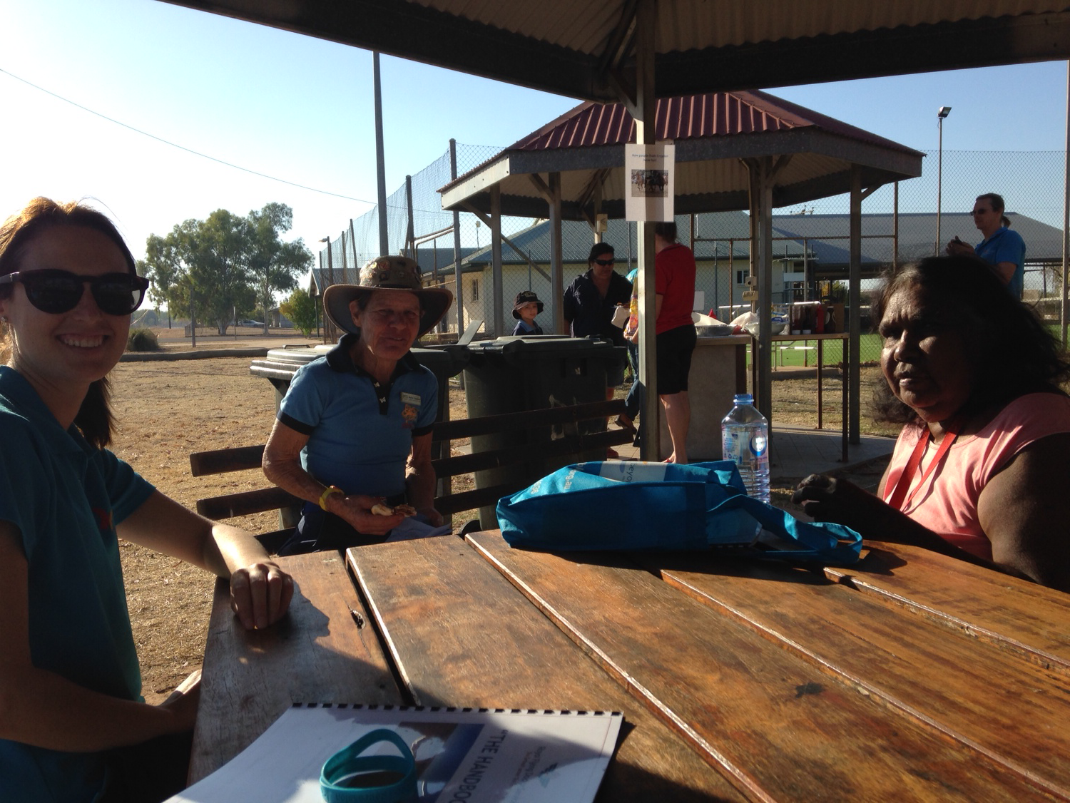 Chatting to locals at the Croydon community breakfast.