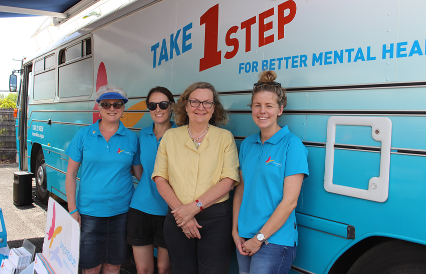 Senator Jan McLucas dropped by the bus at Worklink in Cairns to say hello.