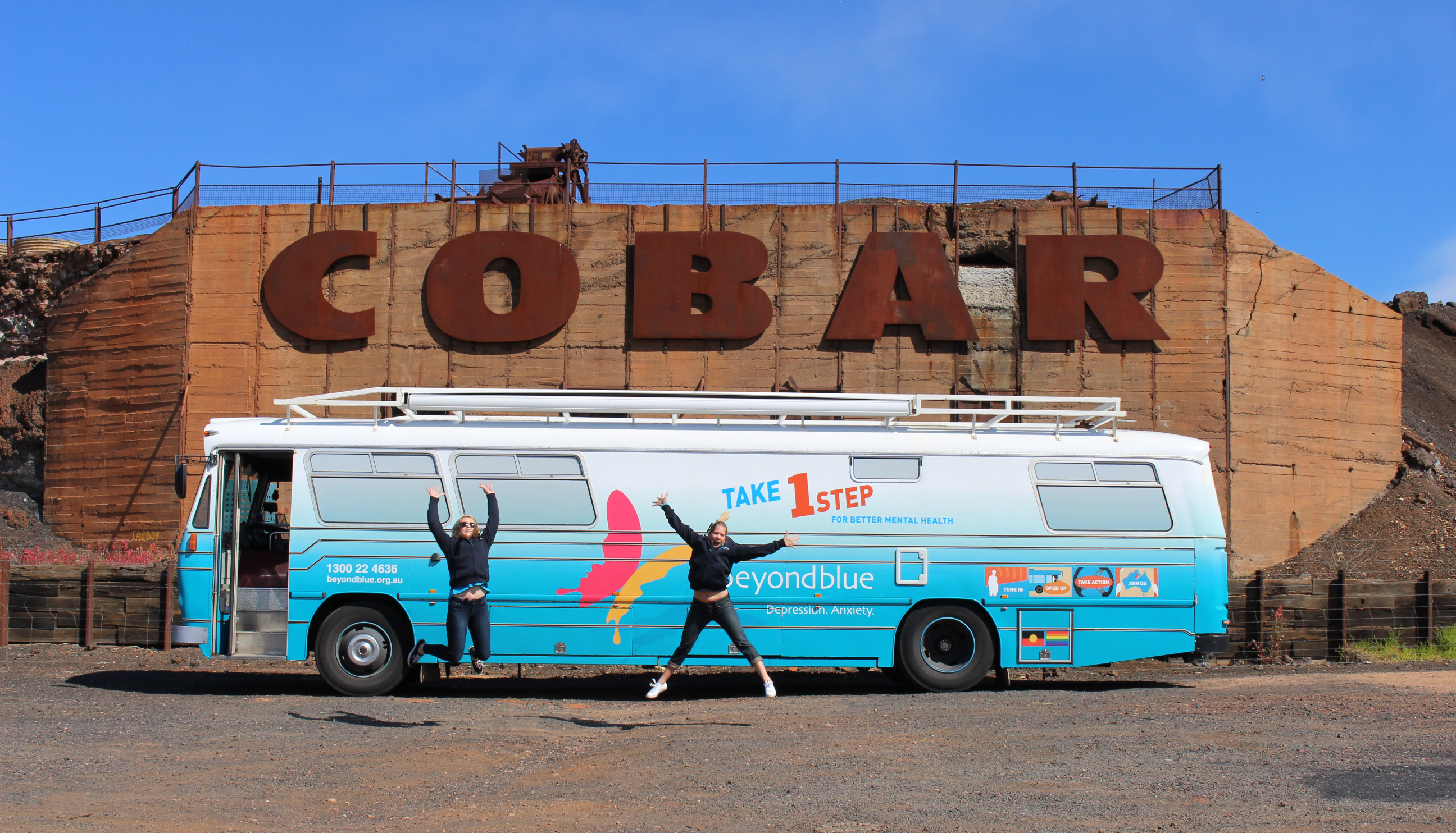 Excited to arrive in Cobar.