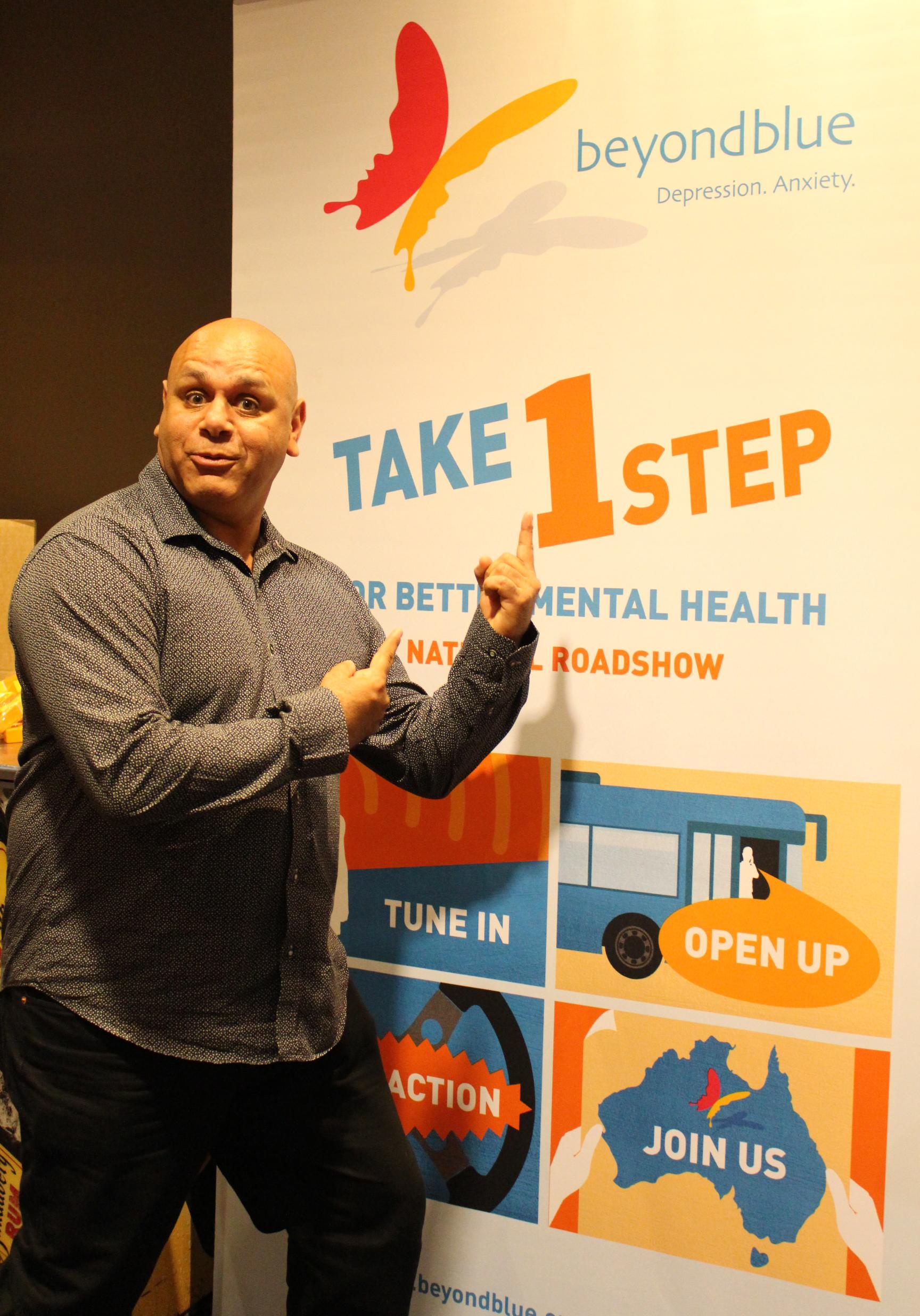 Comedian Kevin Kropinyeri gets behind the 'Take 1 step' message in Cobar.