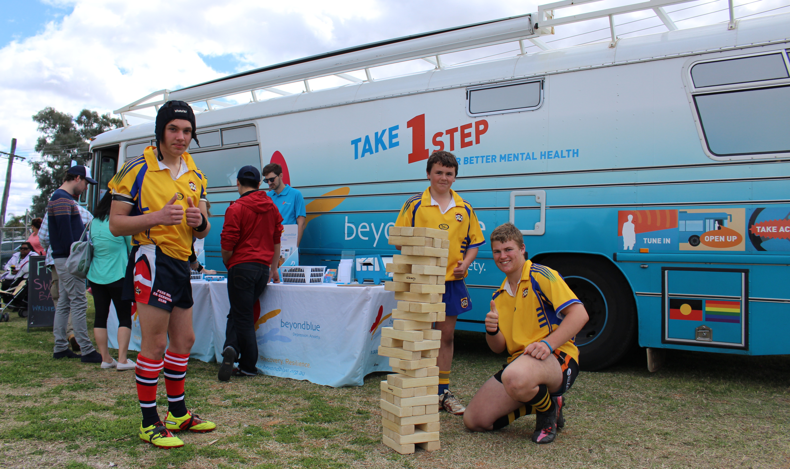 Playing giant jenga during a break at the Ronnie Gibbs Gala Day in Bourke.
