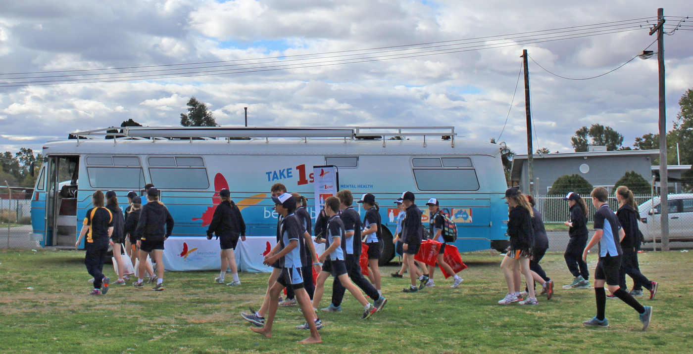 Beyond Blue sweat bands and wrist bands were popular among the students in Bourke.