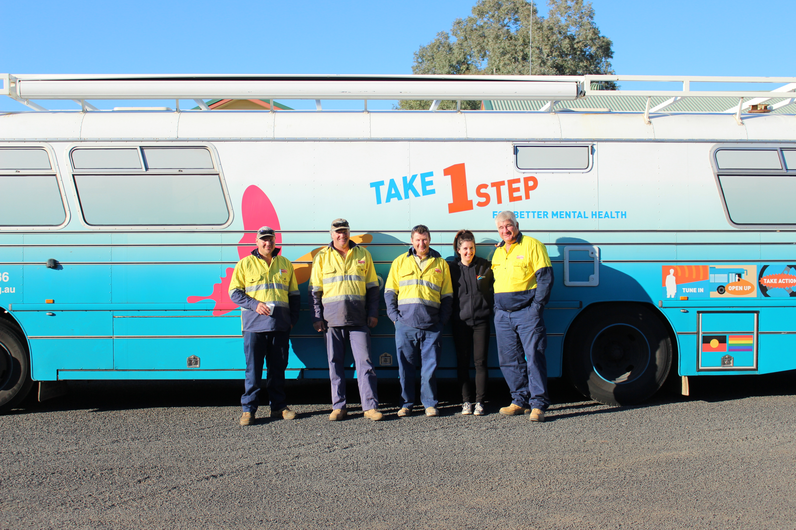 Some of the friendly Essential Energy workers who cooked us breakfast in Bourke!