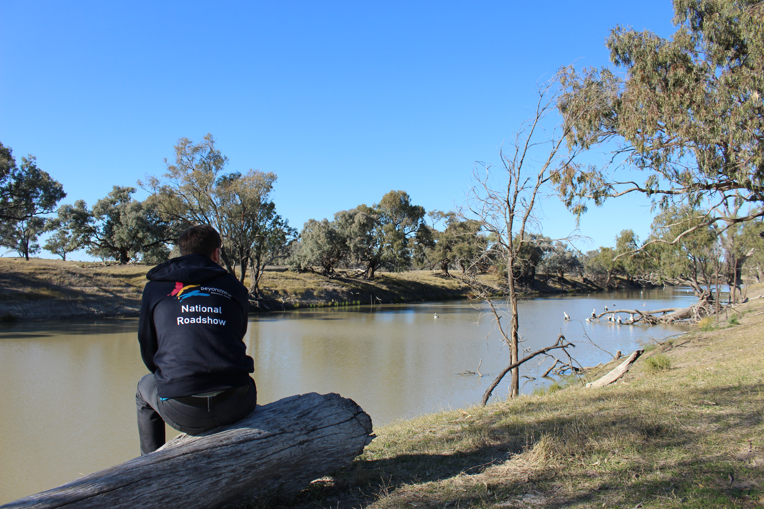 Taking time out to enjoy the beauty of the Darling River in Bourke.