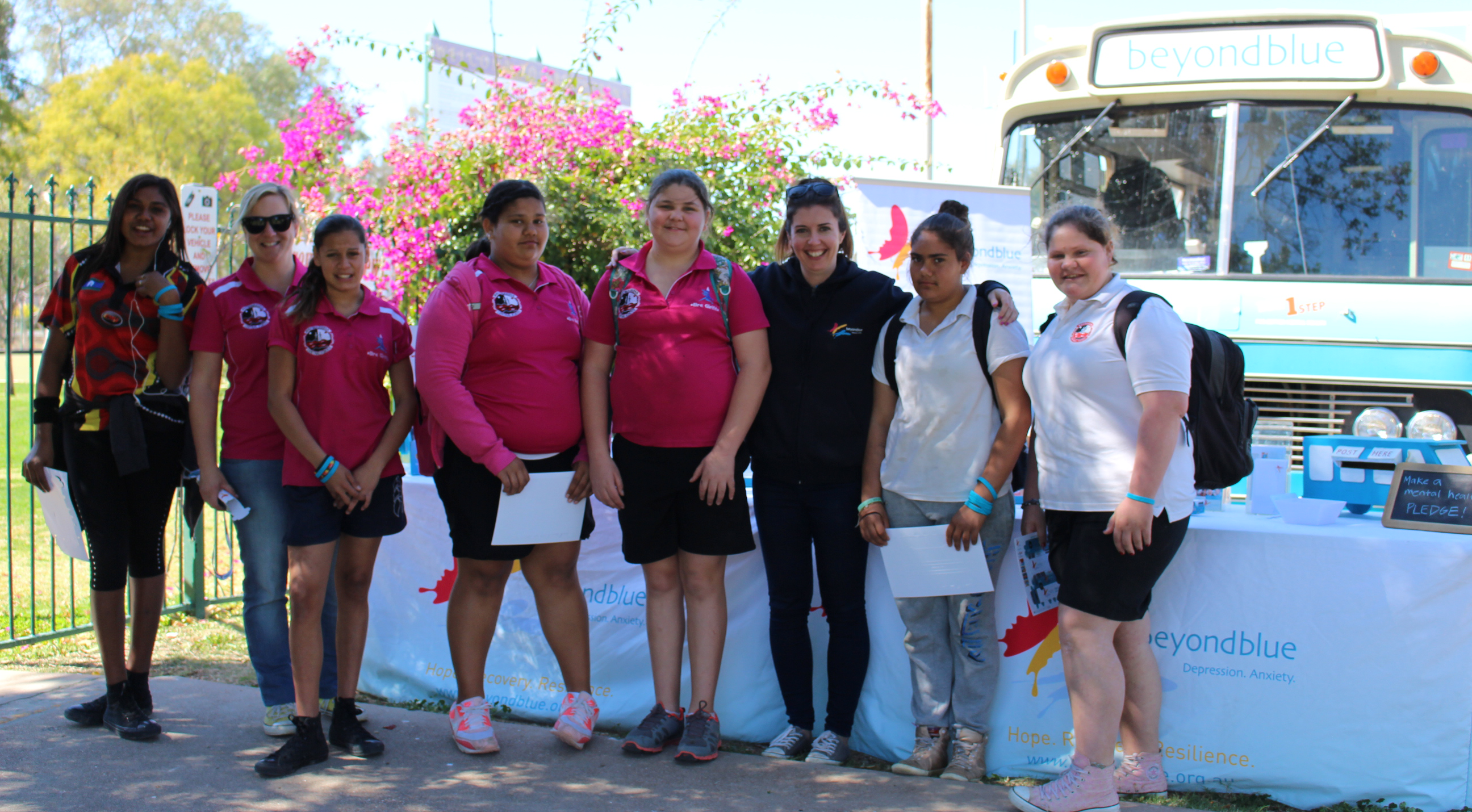High school students in Brewarrina dropped by the bus.