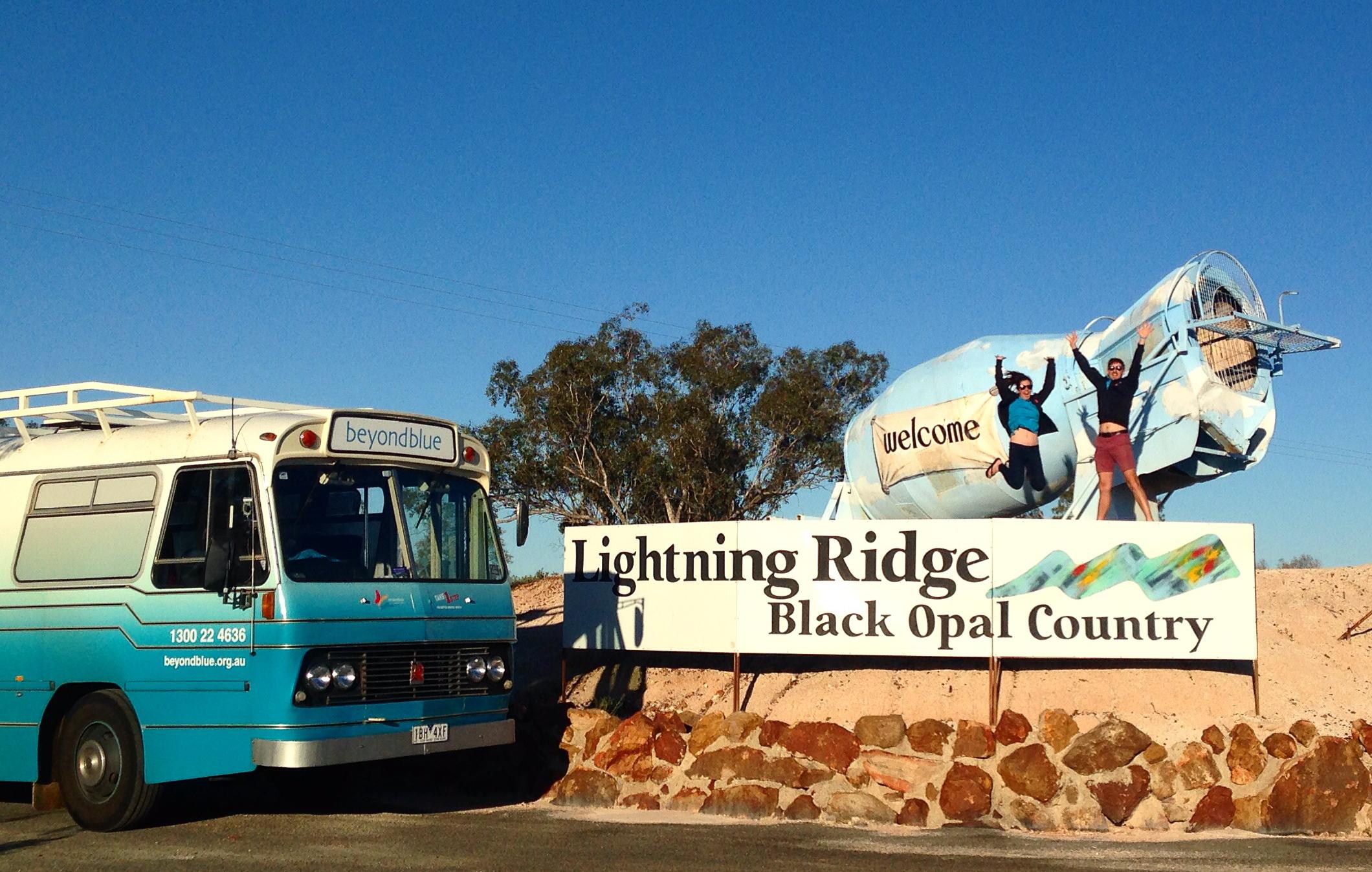 Arriving in Lightning Ridge.