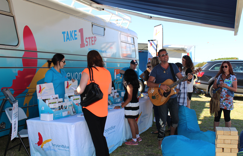 Musical entertainment added to the cheery atmosphere at Rosebud Kite Festival.