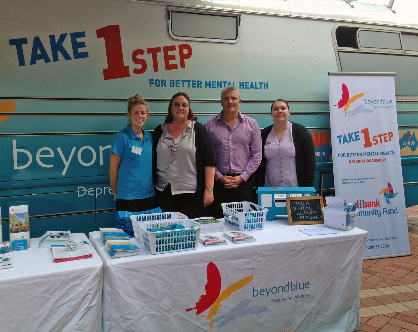 Medibank staff from Garden City stopped by the bus in Booragoon.