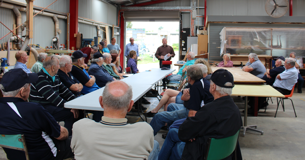 Beyond Blue Ambassador Paul Walshe shares his experience of depression and recovery with the guys at Orbost Men's Shed.