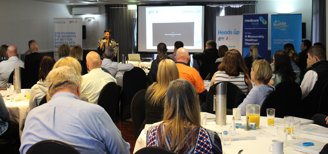 Beyond Blue CEO Georgie Harman chats to business owners and managers in Traralgon.