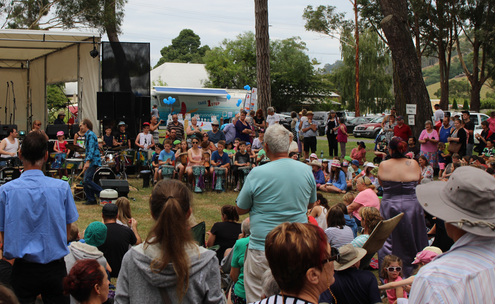 The bus was hard to miss at Boolarra Folk Festival.