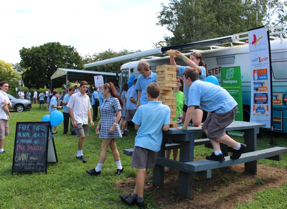 Giant jenga rises to a new level at Neerim District Secondary College.