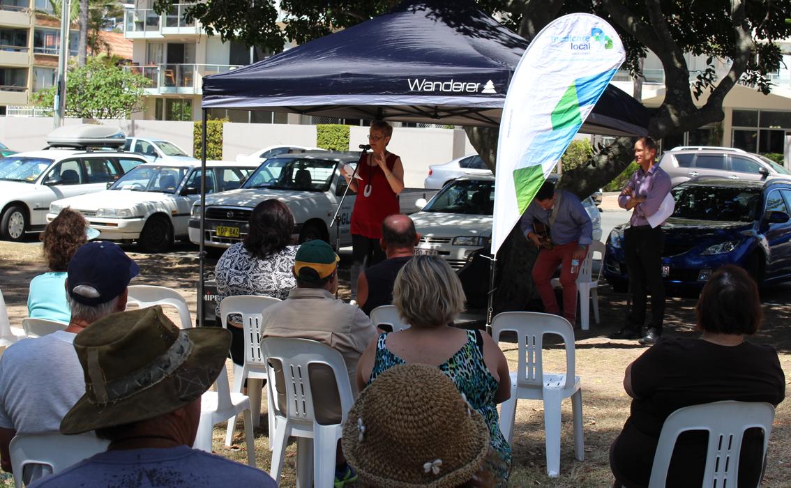 Queensland Mental Health Commissioner and Beyond Blue Board Member Dr Lesley van Schoubroeck addresses the crowd at Justins Park.