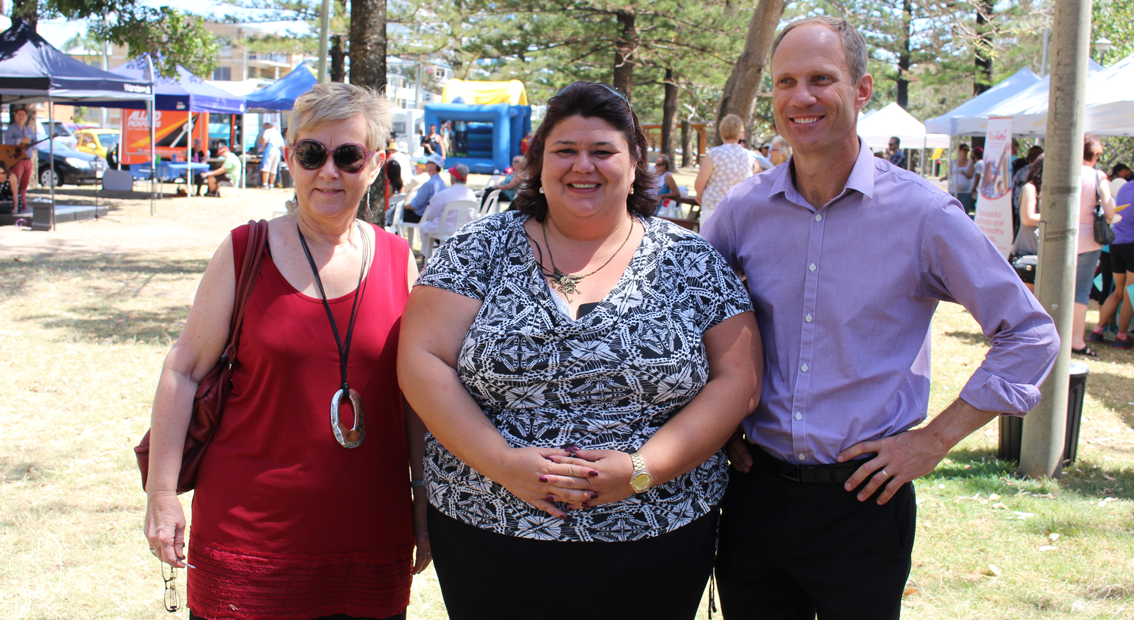Queensland Mental Health Commissioner Dr Lesley van Schoubroeck, speaker Janelle Reeves and Gold Coast Medicare Local CEO Matthew Carrodus at the community festival in Burleigh Heads.
