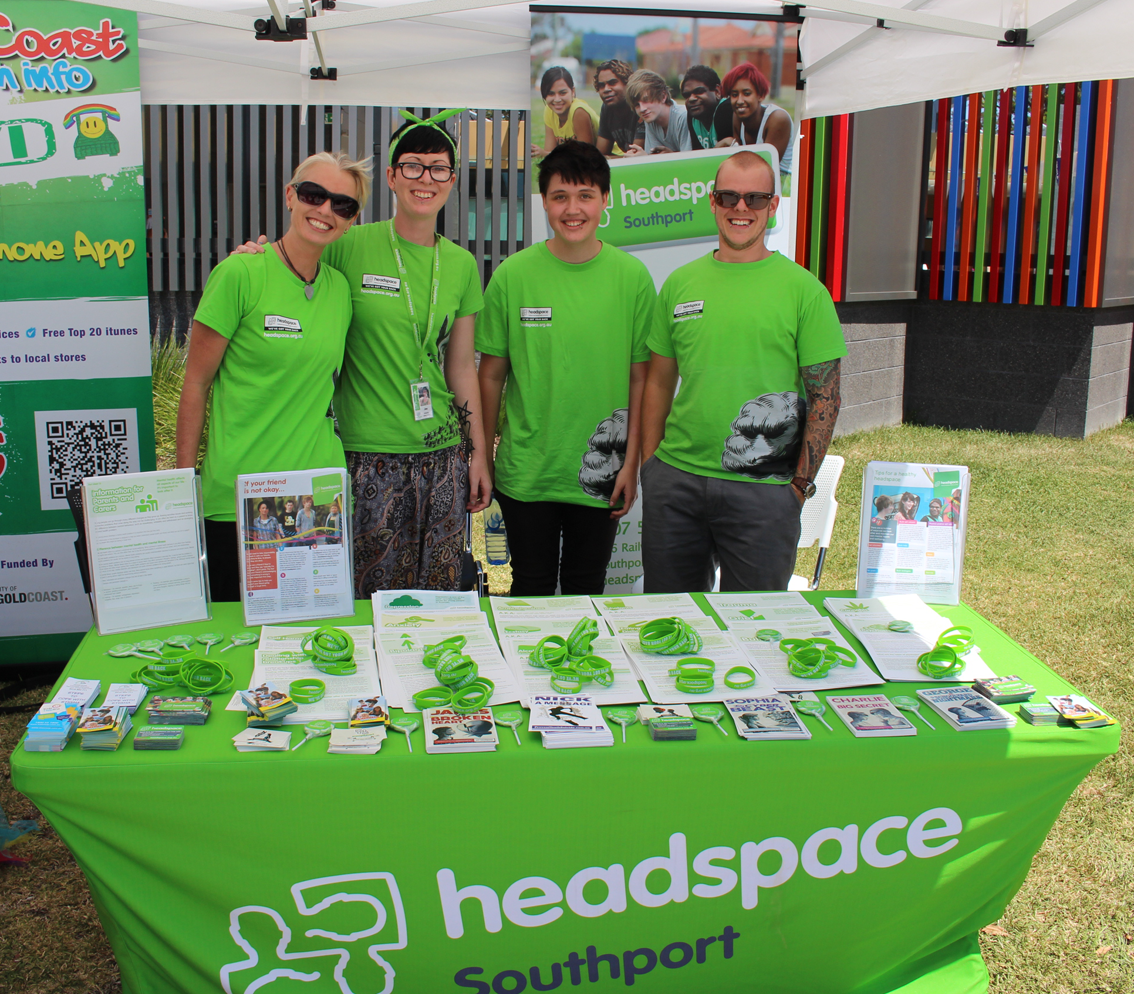 The headspace gang at the Upper Coomera Community Centre for the community health expo.