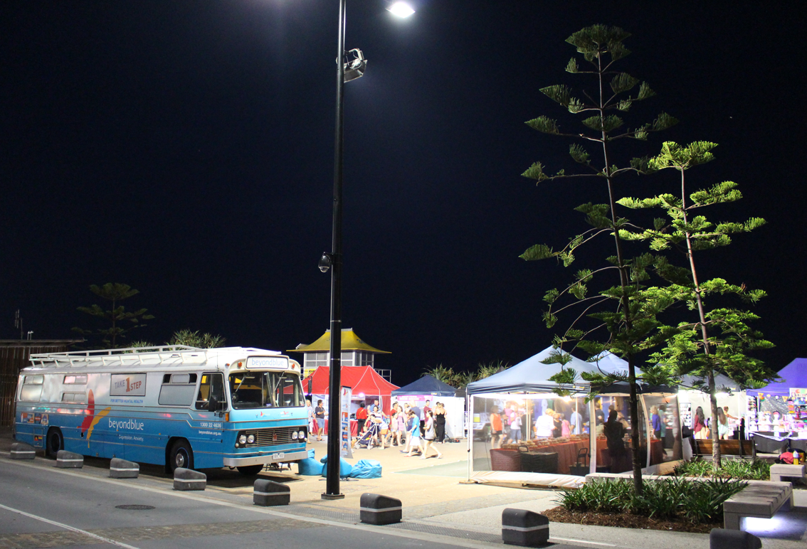 Visitors to the Beachfront Markets couldn't miss the bus.