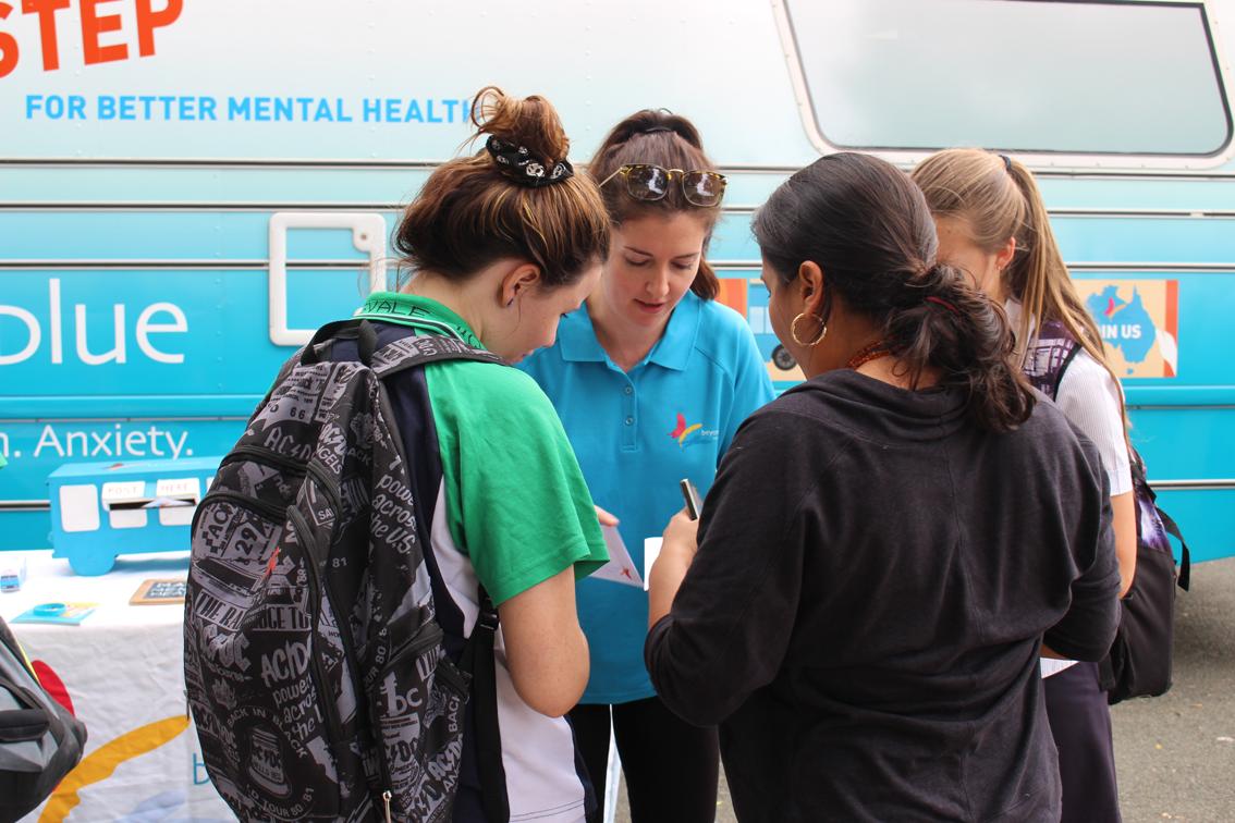 Making mental health pledges at Helensvale State High School.