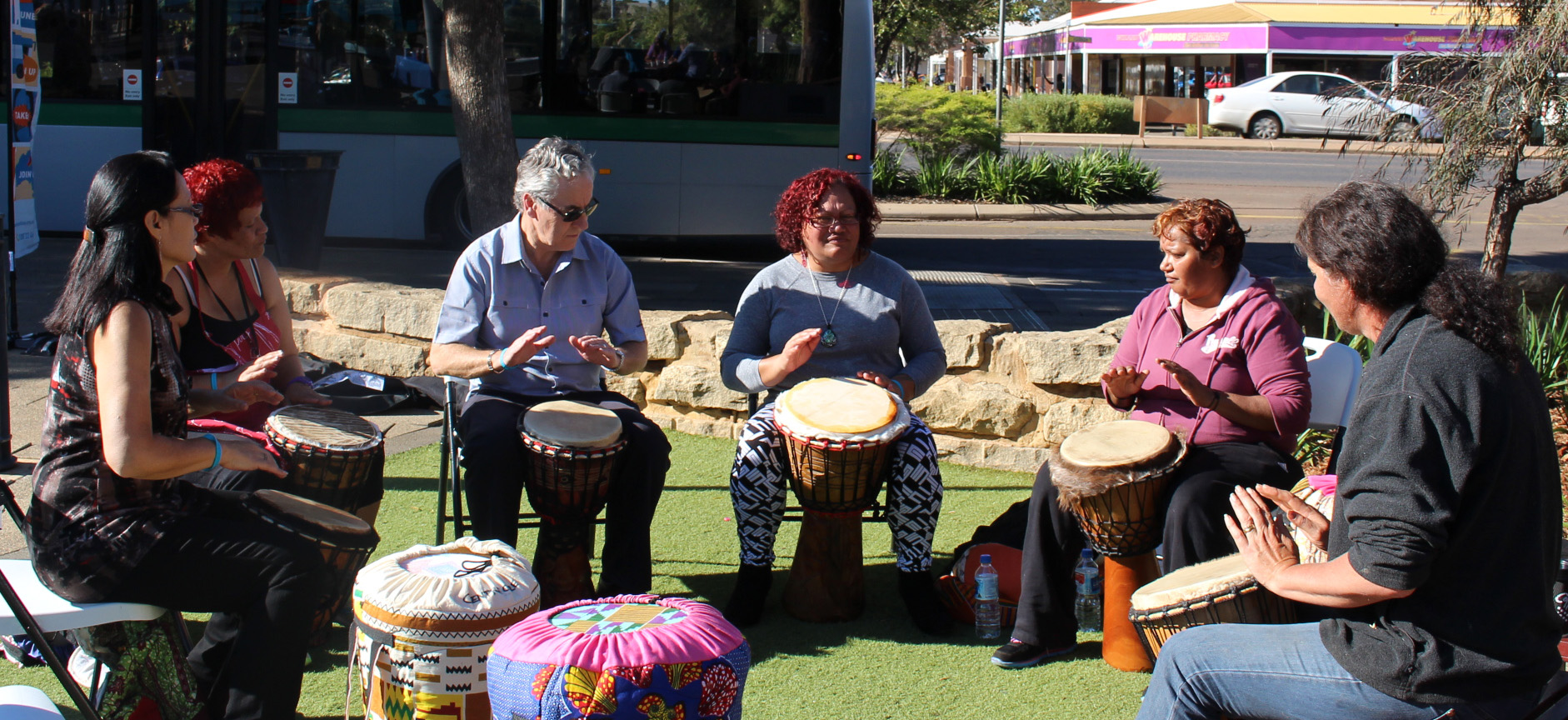 The free breakfast in Kalgoorlie included a Drumbeats session.