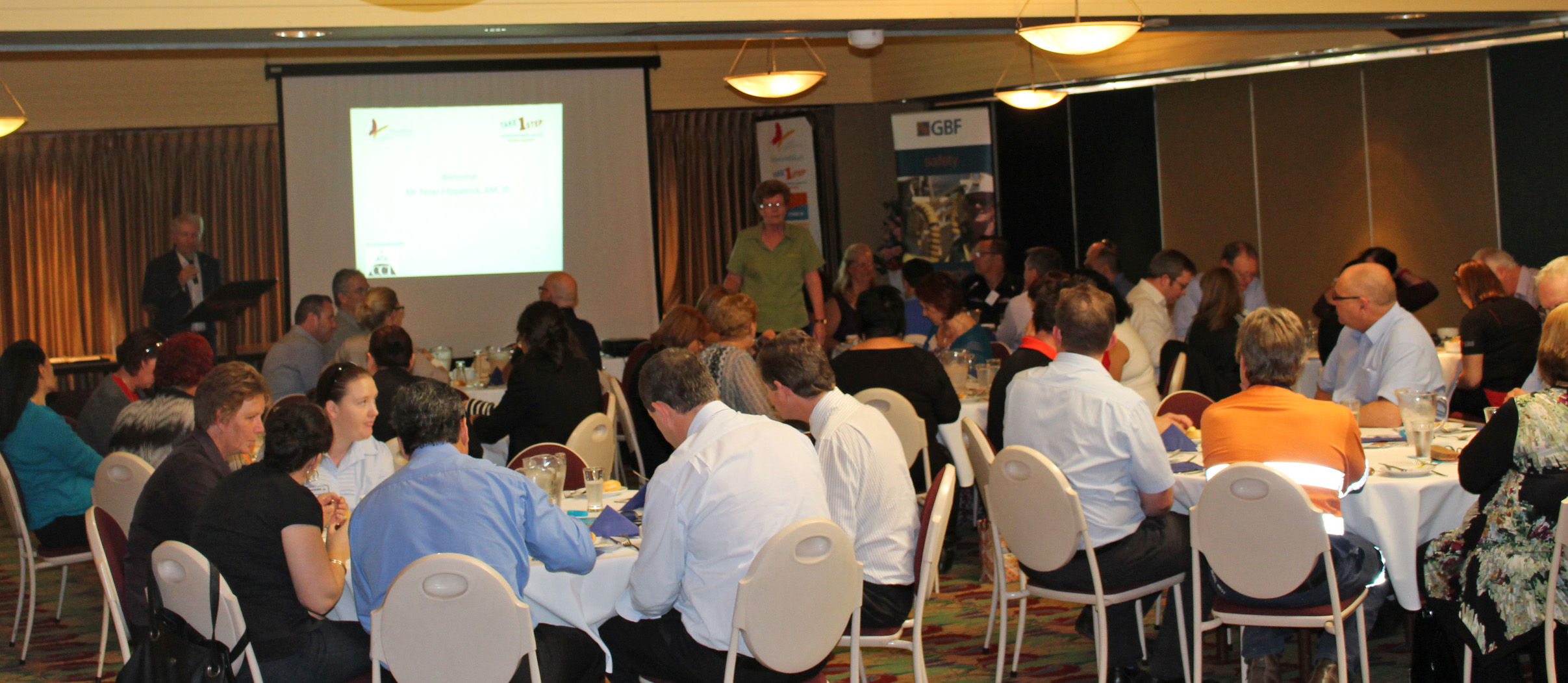 Talking with business owners and managers at the workplace lunch presentation in Kalgoorlie.