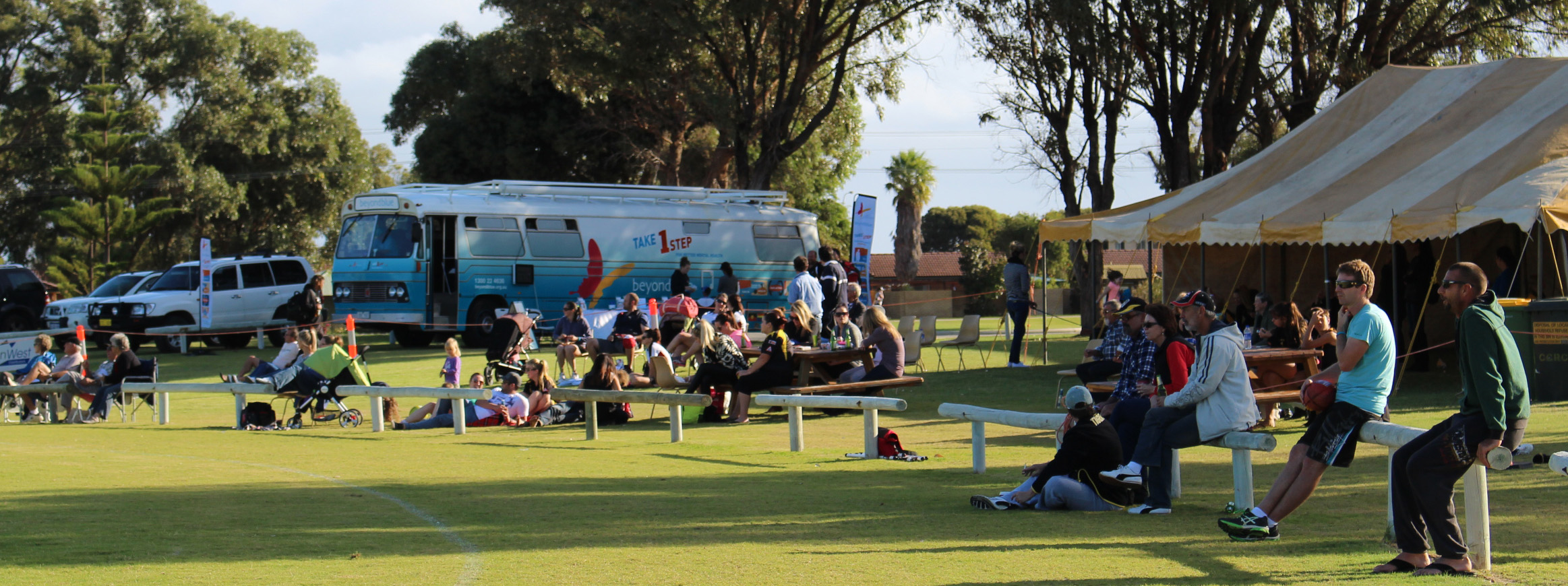 The bus dropped in on the local footy in Cervantes.