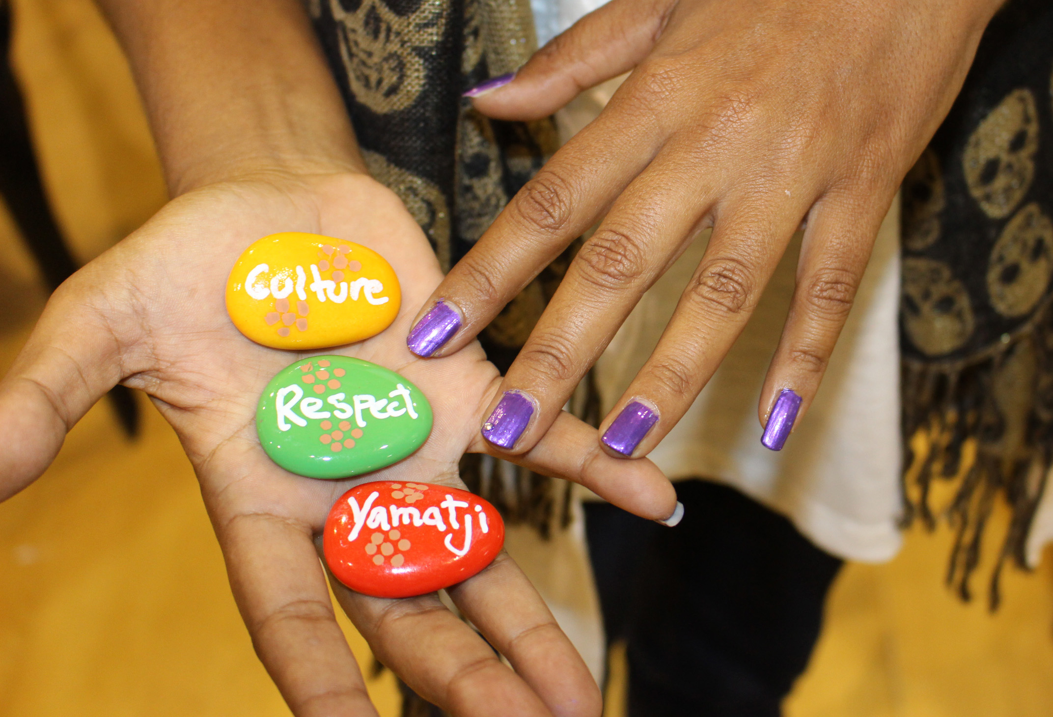 Positive affirmation rock painting was a popular activity in Geraldton.