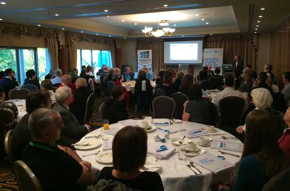 Shepparton business owners and managers gathered to hear about the HeadsUp initiative.