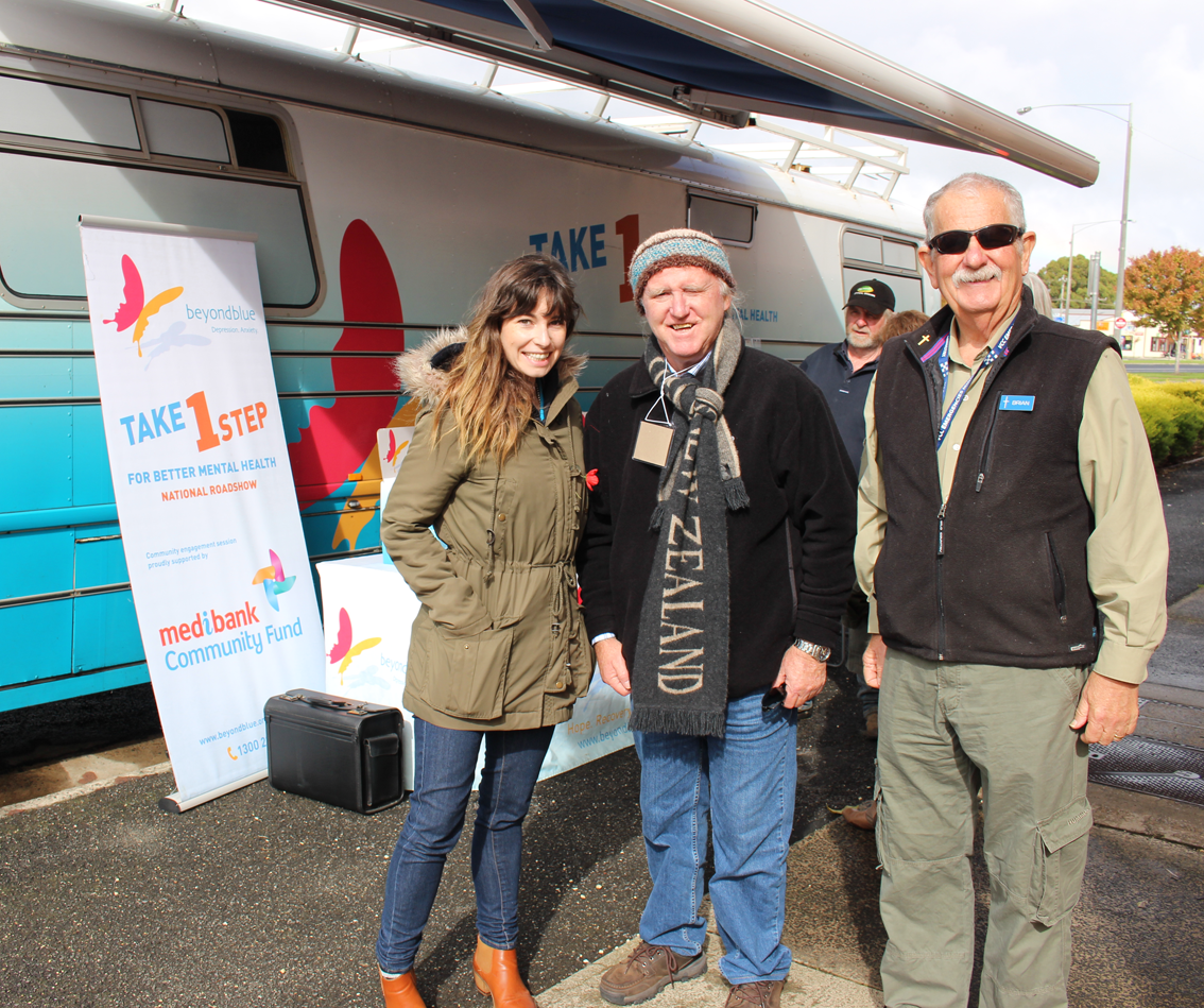 Beyond Blue's Kate with Brian and Brian from the Glenelg Suicide Prevention Network.