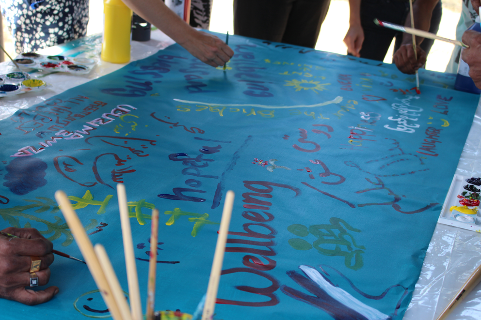 The wellbeing canvas art at MDA Woolloongabba.