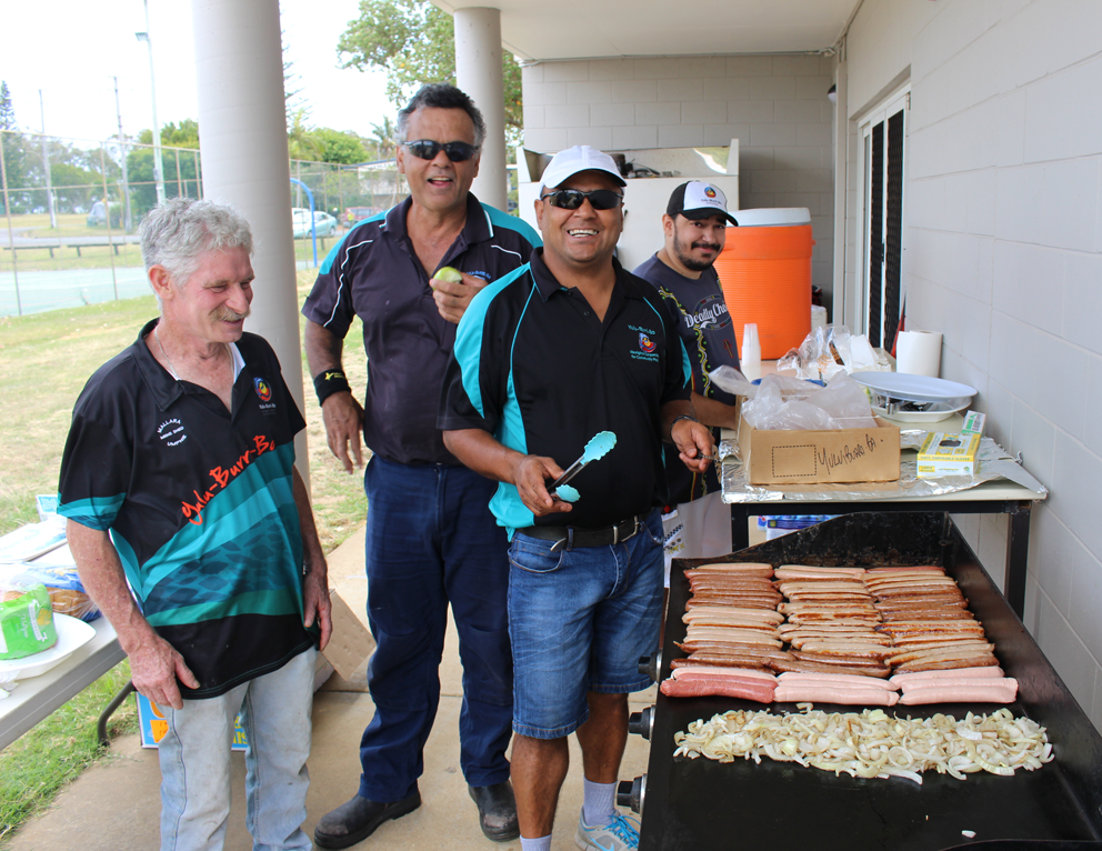 Cooking up the BBQ on Stradbroke Island.