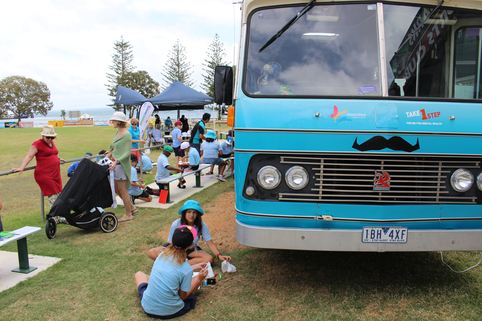 A school group down to visit the bus on Stradbroke Island.