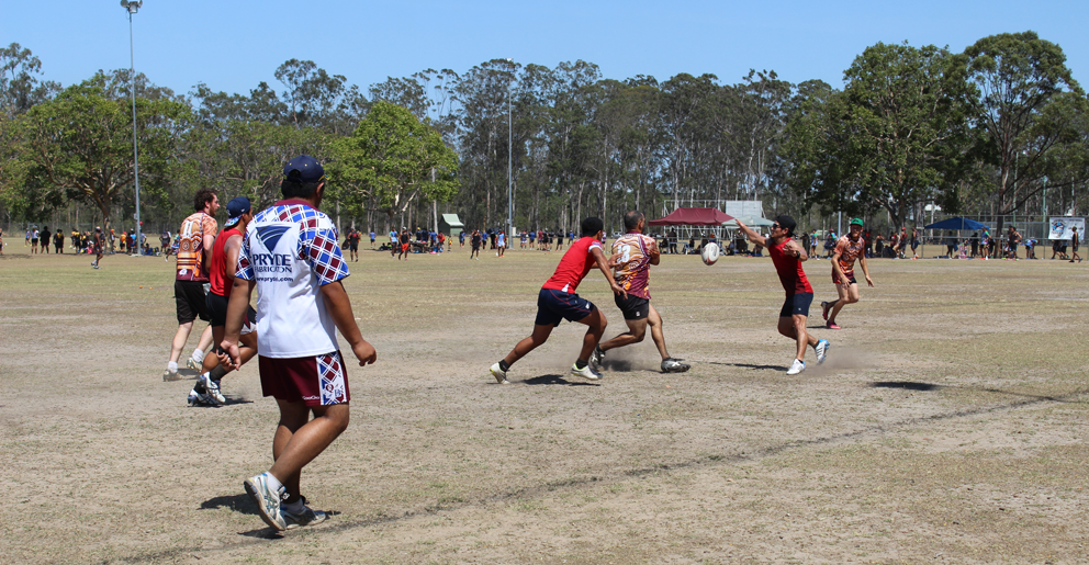 Touch rugby at Gould Adams Park in Kingston for the Living Strong Community Fun Day.