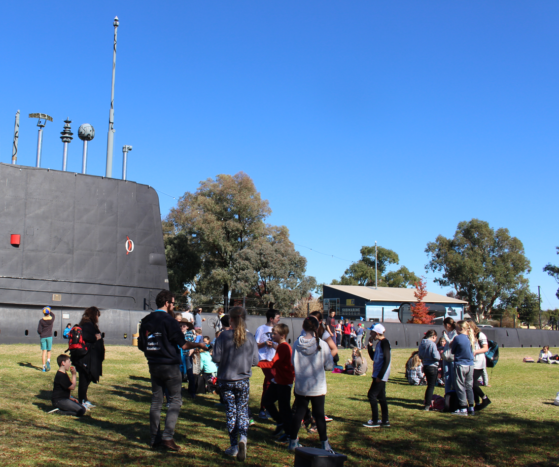 A school group drops by at Holbrook's Submarine Park.