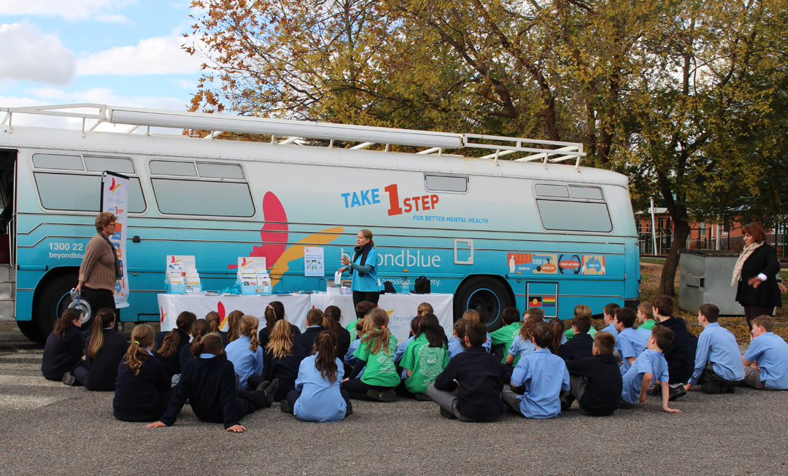 Chatting to school students during our visit to Myrtleford.