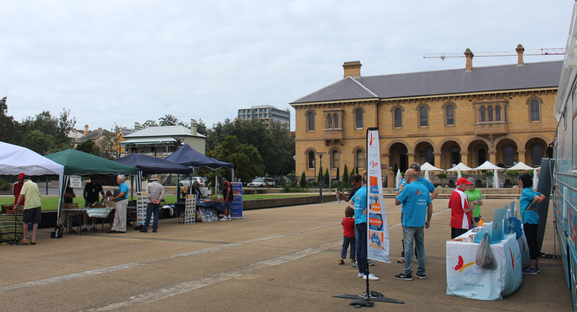 Setting up for the Men's Shed Shindig and free community barbecue at Customs House Plaza in Newcastle.