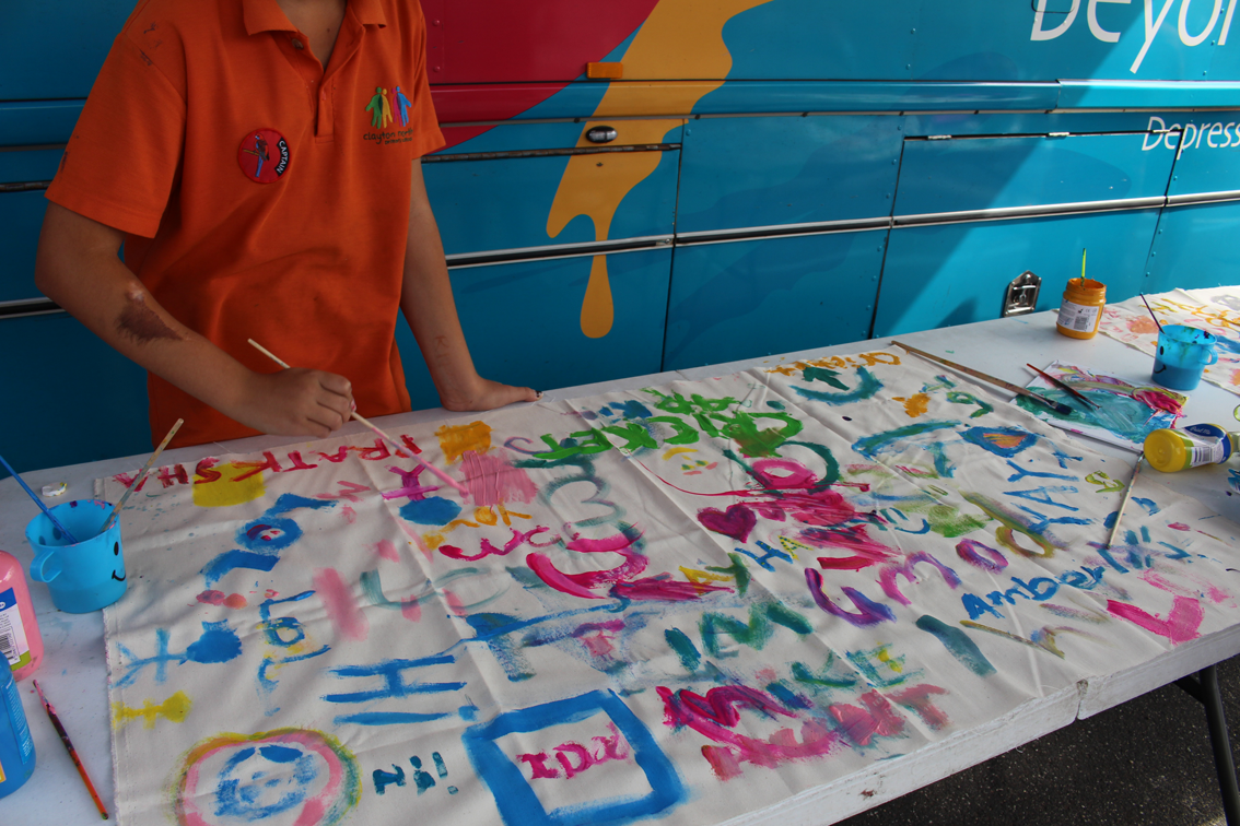 Painting fun at Clayton North Primary.