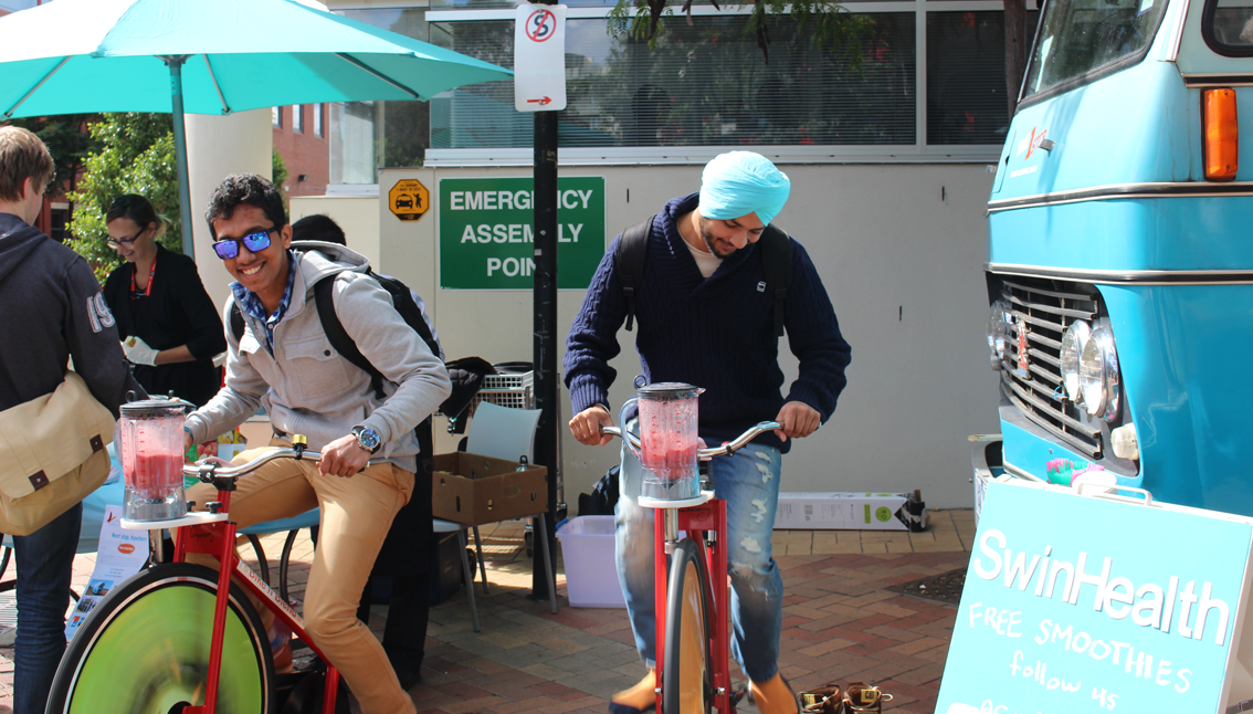 Pedalling for a good cause at Swinburne Uni.